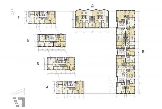 Жилой комплекс «Полуостров Зил». План. Концепция 2014 года © Сергей Скуратов ARCHITECTS