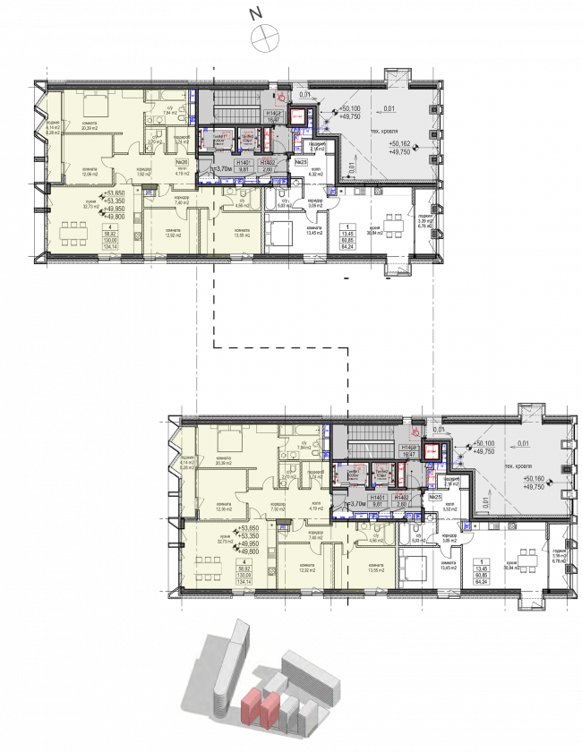 Жилой комплекс «Полуостров Зил». Корпуса В, Г. План 14 этажа © Сергей Скуратов ARCHITECTS