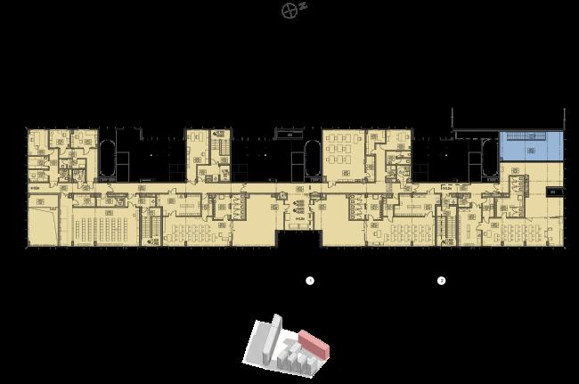 Жилой комплекс «Полуостров Зил». Корпус Е. План 2 этажа © Сергей Скуратов ARCHITECTS