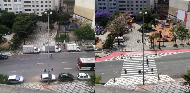 Gehl Architects. Улица в Сан-Паулу до и после реконструкции. Фото: Luis E. S. Brettas