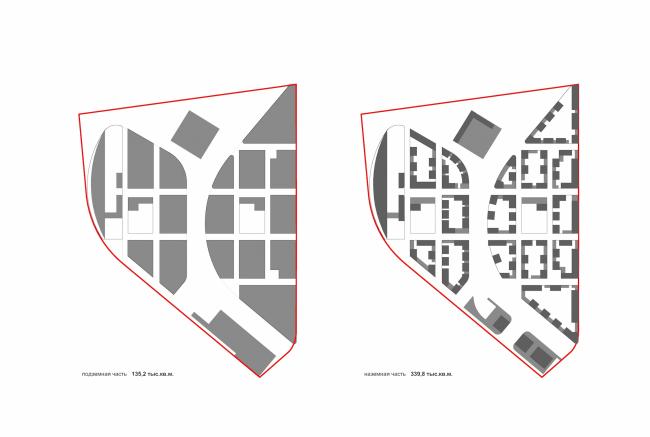 Проект застройки жилого района «Седьмое небо» в Казани. Схема подземной и наземной частей © Сергей Скуратов ARCHITECTS