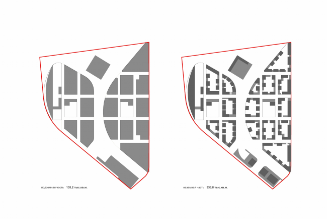 """Project of building Kazan's """"Sedmoye Nebo"""" (""""Seventh Heaven"""") residential district. Plan of the above-ground and underground parts © Sergey Skuratov Architects"""