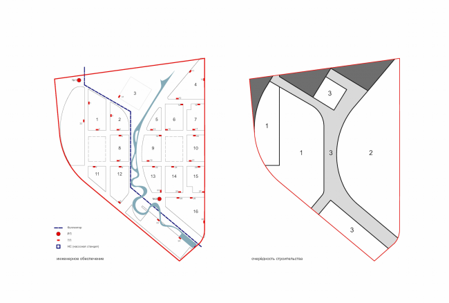 "Project of building Kazan's ""Sedmoye Nebo"" (""Seventh Heaven"") residential district. Provision diagram and the construction phases © Sergey Skuratov Architects"