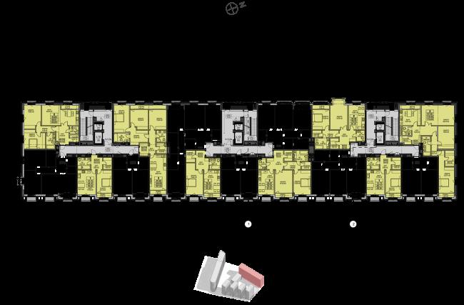 Жилой комплекс «Полуостров Зил». Корпус Е. План 3-6 этажей © Сергей Скуратов ARCHITECTS