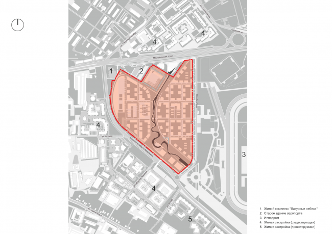 "Project of building Kazan's ""Sedmoye Nebo"" (""Seventh Heaven"") residential district. Location Plan © Sergey Skuratov Architects"