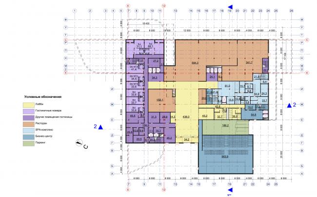 Гостиничный комплекс RADISSON BLU MOSCOW RIVERSIDE HOTEL&SPA. План 1 этажа © Архитектурное бюро Асадова; ГрандПроектСити; МАХПИ