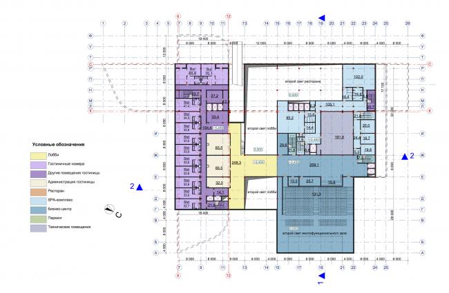 Гостиничный комплекс RADISSON BLU MOSCOW RIVERSIDE HOTEL&SPA. План 2 этажа © Архитектурное бюро Асадова; ГрандПроектСити; МАХПИ