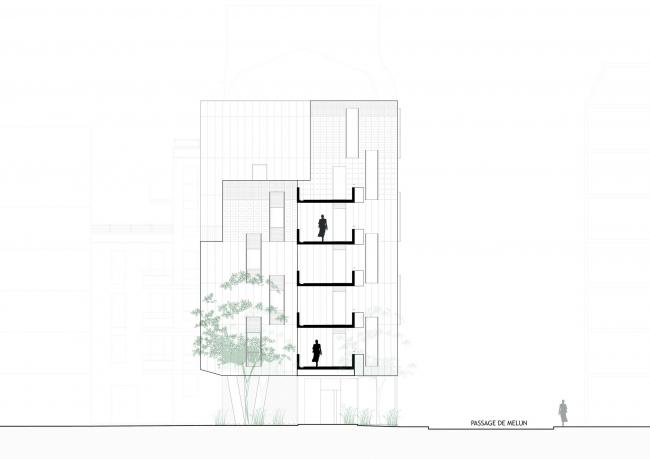 Социальный жилой дом на Пассаж-дю-Мелен © Gaetan Le Penhuel Architectes