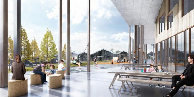 Проект «Умной школы». Крытая часть двора © UNK project