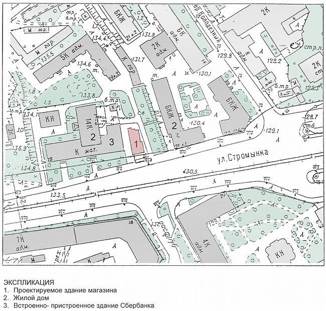Магазин с кафе на улице Стромынка («Рафинад»). Ситуационный план © Архитектурная мастерская Лызлова