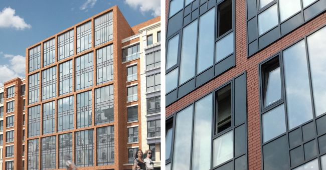 """Malaya Pirogovskaya, 8. On the left: facade upon the project by """"Group ABV"""". On the right: the implemented facade with arbitrary substandard elements. Image courtesy by """"Group ABV"""""""