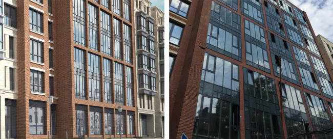 """The project implemented by """"DONSTROY"""". Malaya Pirogovskaya, 8. On the left: facades upon the project by """"Group ABV"""". On the right: facade with arbitrarily self-produced elements of substandard quality, unapproved by """"Group ABV"""" and violating the aesthetic"""