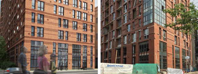 """The project implemented by """"DONSTROY"""". Malaya Pirogovskaya, 8. On the left: facades upon the project by """"Group ABV"""". On the right: facade with arbitrarily self-produced elements of substandard quality installed in the wrong way, unapproved by """"Group ABV"""""""
