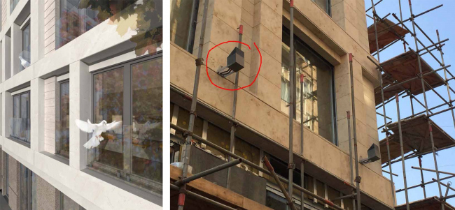 """Smolensky Alley 19-21. On the left: fragment of the facade upon the project by """"Group ABV"""".On the right: fragment of the facade with an arbitrarily installed spotlight unapproved by """"Group ABV"""" and violating the aesthetics of the building."""