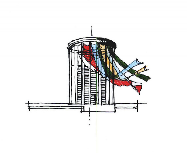 Градостроительная и объемно-пространственная концепция освоения территории речпорта г. Волгоград. Графика © Сергей Скуратов ARCHITECTS