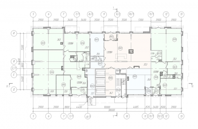 """""""Klever"""" residential building. Plan of the first floor © """"A.Len"""" Architectural Bureau"""