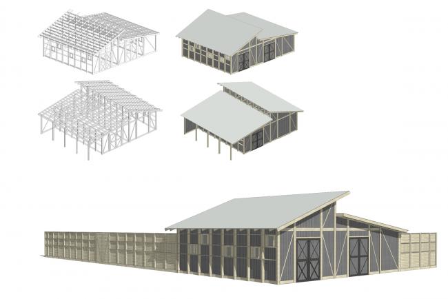 Кормовой сарай и сарай для техники. Аксонометрии и общий вид. Городская ферма на ВДНХ. 1 очередь © WOWhaus