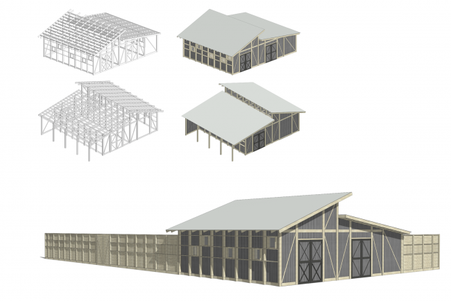 The shed for forage and machinery.Axonometry and overview.  Urban farm at VDNKh, 1st phase © WOWhaus