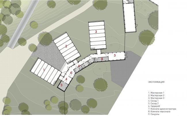План мастерских. Городская ферма на ВДНХ. 2 очередь, проект © WOWhaus