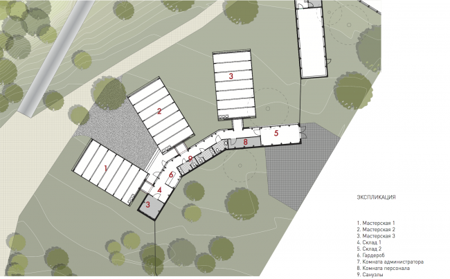 Workshops, plan. Urban farm at VDNKh, 2nd phase, project © WOWhaus