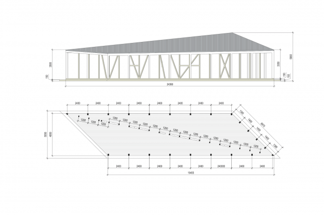 Навес при киоске. План и фасад.Городская ферма на ВДНХ. 1 очередь © WOWhaus