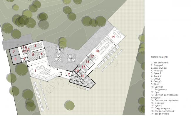 Городская ферма на ВДНХ. План главной площади и кафе. 2 очередь © WOWhaus