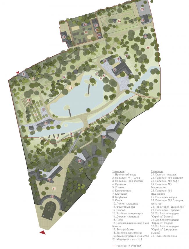 Генплан 1 и 2 очереди. Городская ферма на ВДНХ. Генеральный план © WOWhaus