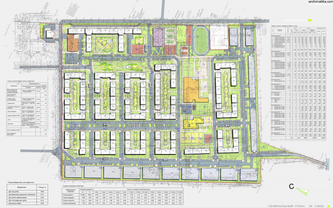 """""""Comfort Town"""" residential complex. Master plan © Archimatika"""