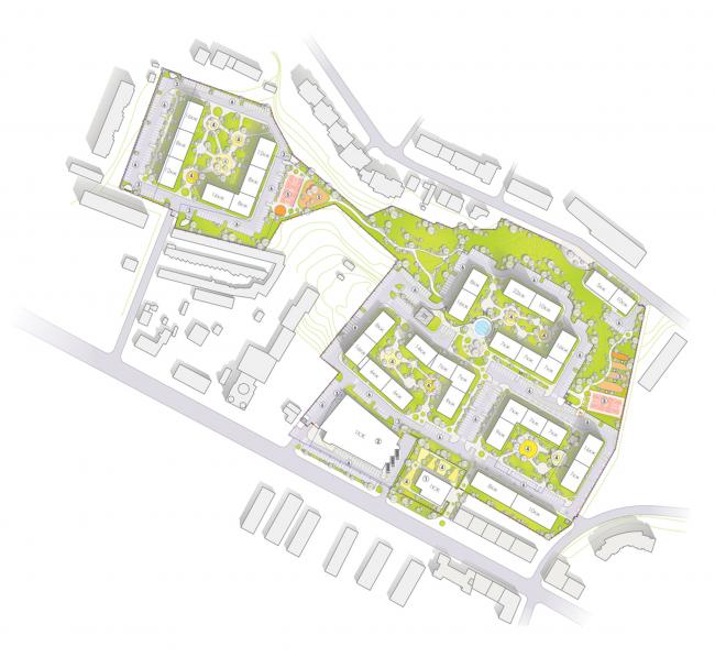 Жилой комплекс «Семицвет». Генеральный план © Архиматика