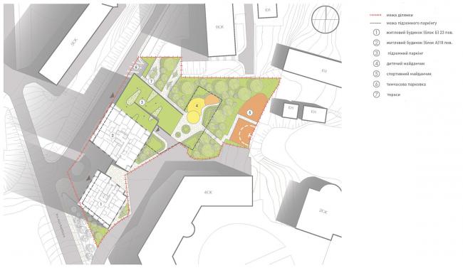 Жилой комплекс на улице Анри Барбюса. Схема функционального зонирования © Архиматика