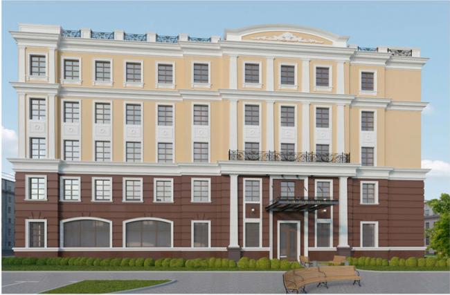 Проект реконструкции офисного здания под гостиничный комплекс на Большой Якиманке. Фасад, обращенный в Хвостов переулок, и главный вход в отель © «Хоумленд Архитектура»