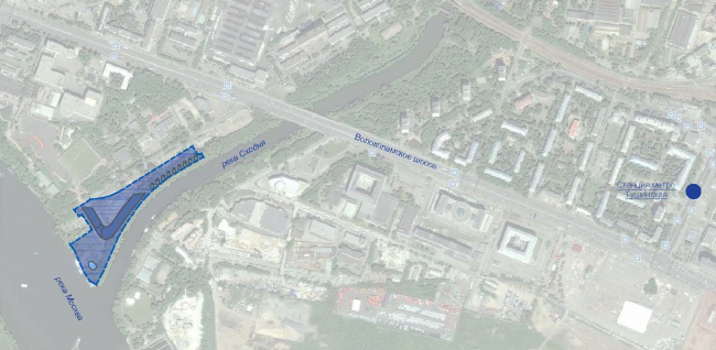 Radisson Blue hotel complex at the place of the confluence  of the Moskva and Skhodnya rivers. Location plan © Arch group