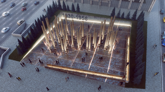 The memorial to the victims of political repressions at the Sakharov Avenue. Contest project © UNK project