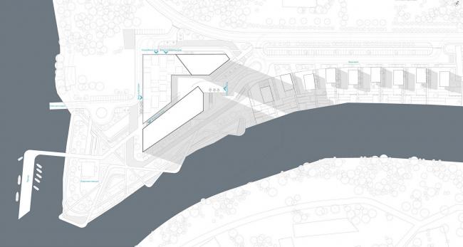 Конкурсный проект гостиничного комплекса Radisson Blu Moscow Riverside Hotel&SPA. Генеральный план © Архитектурная мастерская «А.Лен»