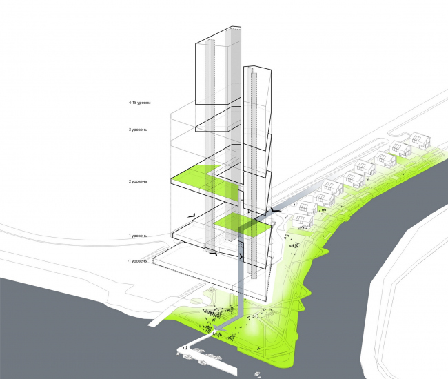 """Contest project of Radisson Blu Moscow Riverside Hotel&SPA. Plan © """"A.Len"""" architectural studio"""