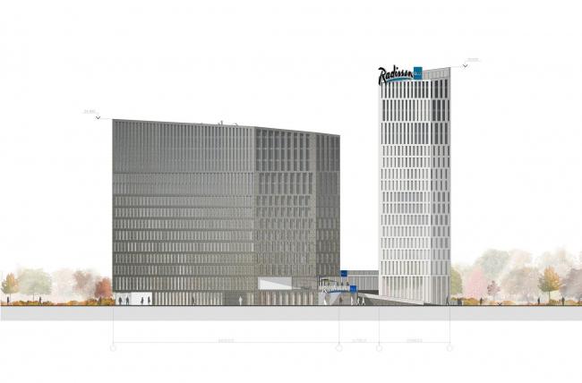 Конкурсный проект гостиничного комплекса Radisson Blu Moscow Riverside Hotel&SPA. Фасад © Архитектурная мастерская «А.Лен»