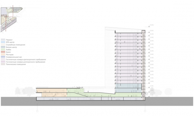 """Contest project of Radisson Blu Moscow Riverside Hotel&SPA. Section view © """"A.Len"""" architectural studio"""