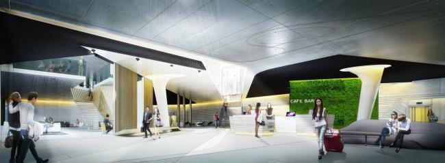 Конкурсный проект гостиничного комплекса Radisson Blu Moscow Riverside Hotel&SPA. Интерьер © Архитектурная мастерская «А.Лен»