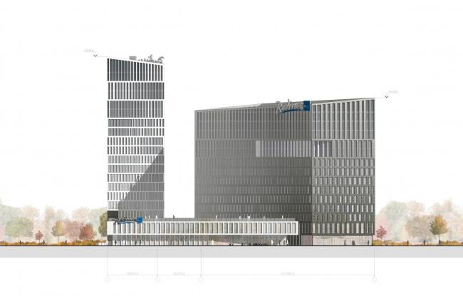 "Contest project of Radisson Blu Moscow Riverside Hotel&SPA. Facade © ""A.Len"" architectural studio"