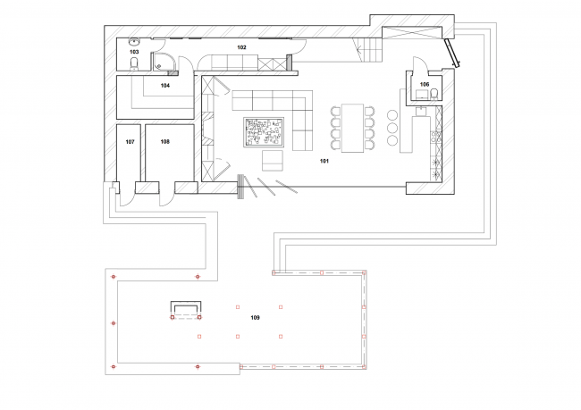 """The project of """"Forester Shack"""" guest house. Plan of the 1st floor © Roman Leonidov architectural bureau"""