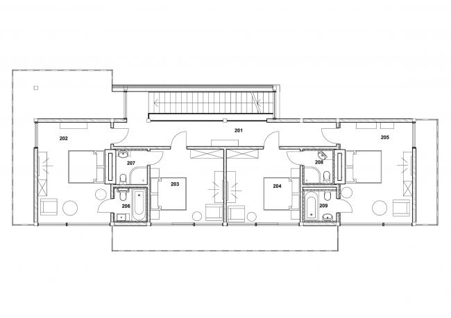 Проект гостевого дома Forester shack. План 2 этажа © Архитектурное бюро Романа Леонидова