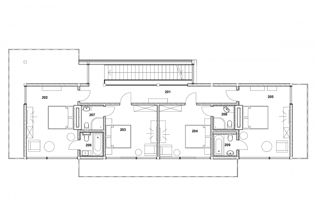 """The project of """"Forester Shack"""" guest house. Plan of the 2nd floor © Roman Leonidov architectural bureau"""