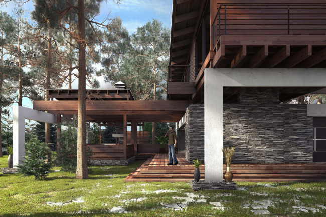 """The project of """"Forester Shack"""" guest house © Roman Leonidov architectural bureau"""
