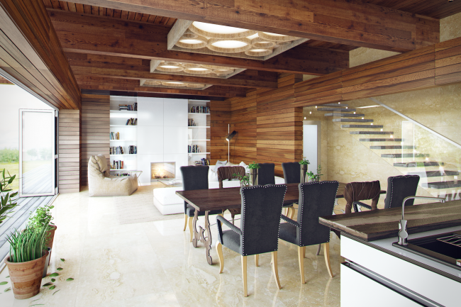 """The project of """"Forester Shack"""" guest house. Interior © Roman Leonidov architectural bureau"""