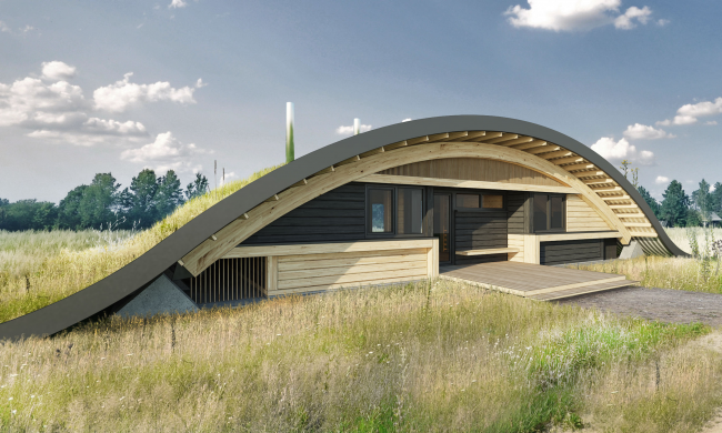 Hobbit Hall residence. Facade as viewed from the main entrance to the master house © Roman Leonidov Architectural Bureau