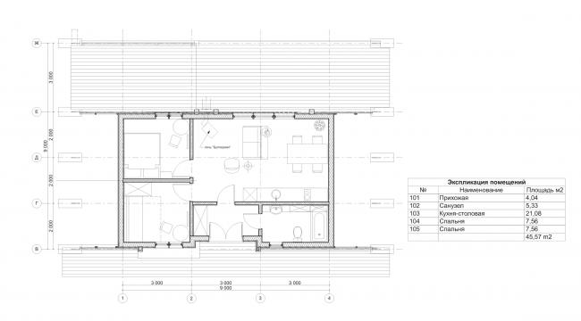 Hobbit Hall residence. Plan of the floor © Roman Leonidov Architectural Bureau