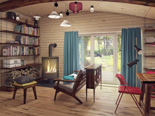 Жилой дом Hobbit Hall. Интерьер гостиной © Архитектурное бюро Романа Леонидова