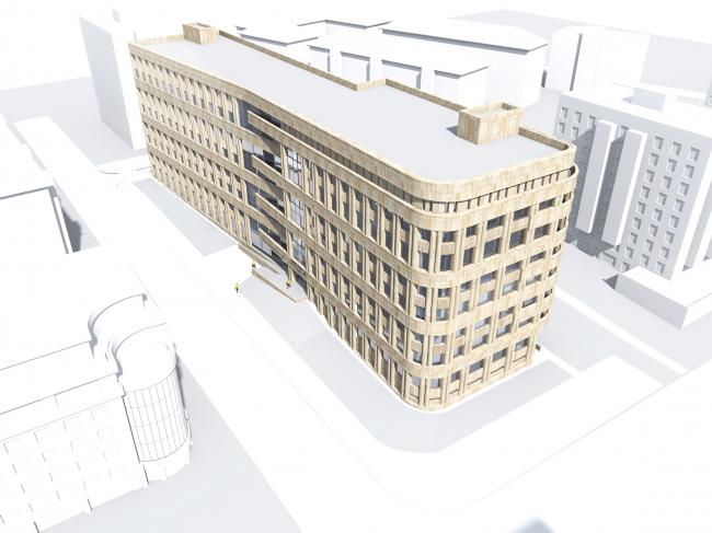 Архитектурное решение фасадов клинико-диагностического центра. Проектное предложение © ГранПроектСити