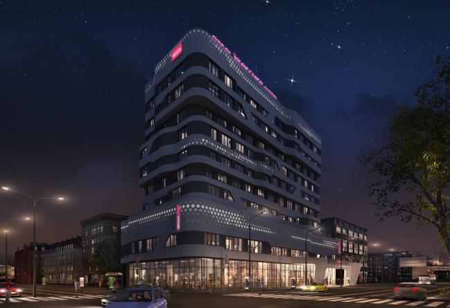 """Отель «Mercure». Вариант подсветки 1 от компании """"Martini Light"""" © © Архитектурное бюро «А.Лен»"""