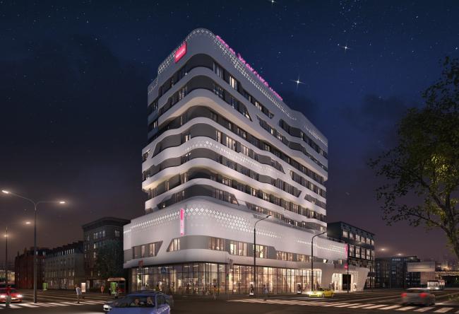 """Отель «Mercure». Вариант подсветки 2 от компании """"Martini Light"""" © © Архитектурное бюро «А.Лен»"""